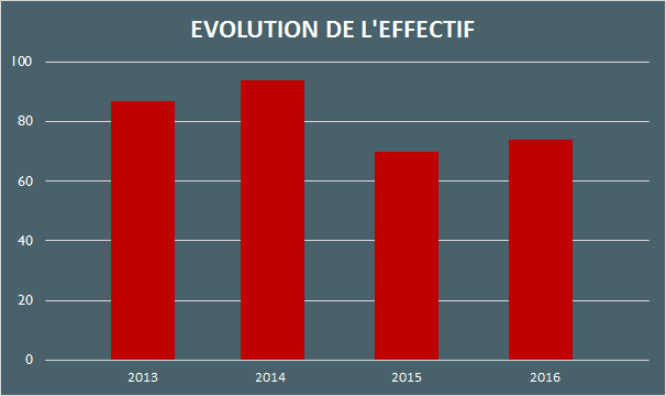 Evolution de l'effectif 2017